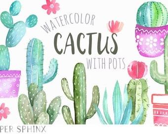 Watercolor Cactus Clipart | Cacti Succulents with Pots - Handmade Southwest Plants Clip Art - Digital Instant Download PNG files