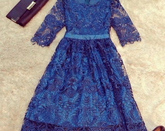 Royal Blue Lace dress - Wedding / Bridesmaid / Engagement dress