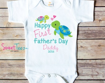 Happy First Father's Day Shirt Turtle Baby Girl Boy Bodysuit Personalized