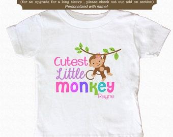 Cutest Little Monkey Baby Bodysuit or Shirt Bib Cute Baby Bodysuit Toddler Shirt