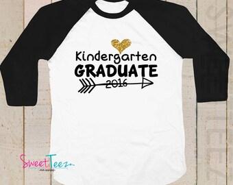 Kindergarten Graduation Shirt Gold Glitter Heart Shirt Arrow Personalized with year  Girl Pink Kids Raglan Shirt