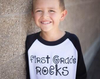 First Grade Rocks Shirt Boy Girl Shirt Kids Raglan Shirt