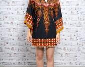 Vintage 70s Boho Ethnic Print Kaftan Dress Hippie Indian Print Knee Length S