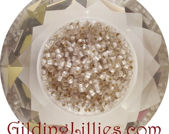 """6"""" Toho 8/0 Round #21F Crystal Silver Lined Matte Beads"""