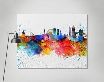 London canvas print, London watercolor skyline canvas, London colorful print, Art print, Home decor, Travel print, Wall art, ArtPrintCanvas.