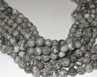 Grey Black Jasper Beads 10mm Round Faceted Natural Color