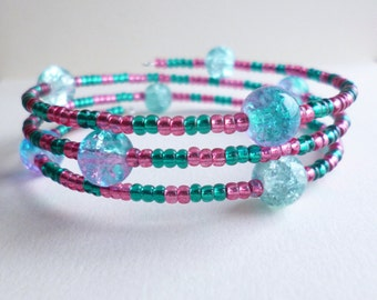Pink and Blue Beaded Wrap Bracelet, Pink Bracelet, Blue Bracelet, Memory Wire Bracelet