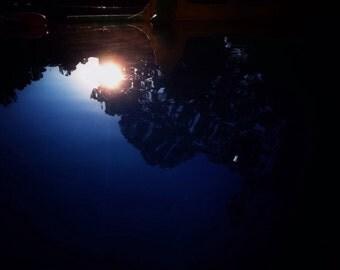 Sun darkened pool