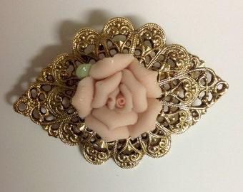 Vinatge Brooch | Vintage Goldtone Brooch | Victorian Style Brooch  | Pearl Brooch | Vinatge Rose Brooch | Pink Rose Brooch