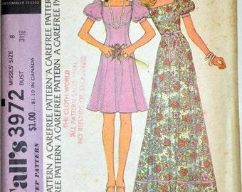 Uncut 1970s McCall's Vintage Sewing Pattern 3972, Size 8; Misses' Dress