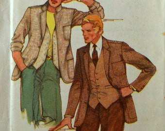 Uncut 1970s Butterick Vintage Sewing Pattern 6456, Size 38; Men's Jacket and Vest