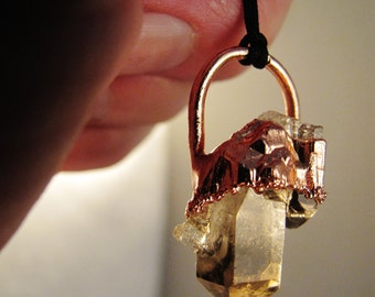 beautiful smoky quartz pendant, electroformed jewelry, raw crystal jewelry, raw crystal necklace, raw crystal pendant, boho chic pendant