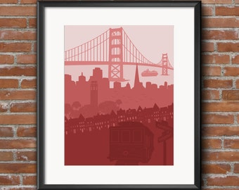 San Francisco - San Francisco Poster - San Francisco Gift - San Francisco Art - Golden Gate Bridge - City Skyline - California Art - SF - CA
