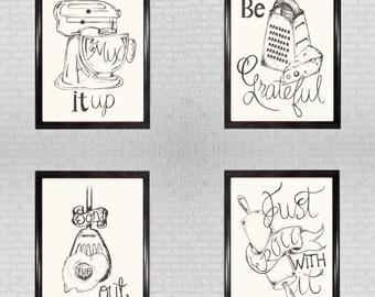 Set of four Kitchen Prints   Illustration   Gift   Hand drawn art