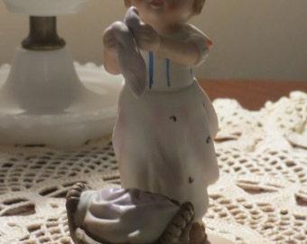 Erich Stauffer Girl washing laundry figurine