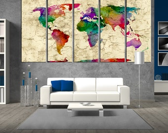 Large wall art World map canvas, watercolor world map art canvas print, large canvas print, extra large wall art, world map watercolor t401
