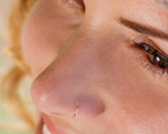 22 Gauge Rose Gold Filled Nose Hoop, Tragus Hoop, Cartilage Hoop, Thin Nose Hoop, Rose Gold Tragus Ring, Rose Gold Cartilage Ring