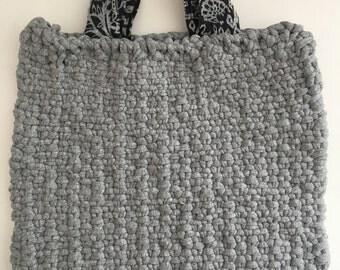 Gray Knit Tote Bag