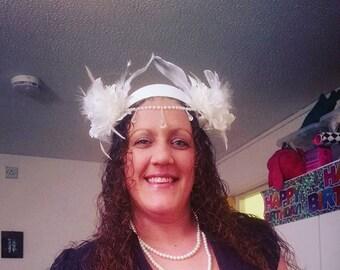 Candi. headpiece, headdress, bridal, wedding, hippy, fantasy, ethereal, fairy, pure, white, silver, maiden