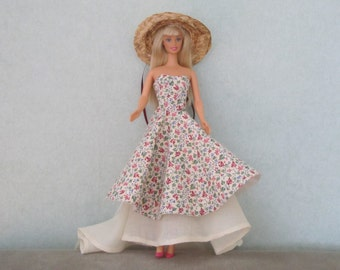 Barbie OOAK flowered dress and petticoat with train
