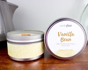 VANILLA BEAN Soy Candle in 8oz Tin, Wood Wick Candle, Vanilla Candle, Spring Candle, Tin Candle, Scented Candle, Scented Soy Candle