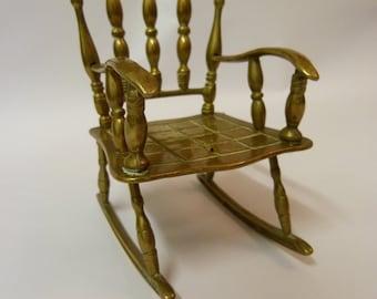 Solid brass vintage miniature rocking chair