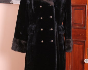 Double Breasted Laska Vintage Black Faux Sheared Beaver and Mink Fur Coat USA