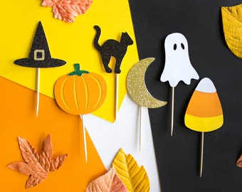 12 halloween cupcake toppers fall decor witch cupcake halloween decoration - Decoration Halloween