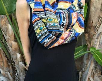 SALE 100% Silk Bohemian Tribal Print Double Layered Infinity Scarf