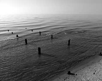 Black and White Photography, Lake Michigan, Wall Art, Beach, Great Lakes, Shore, Michigan Photography, Pier, Dock, Pilings, Nautical, Lonely