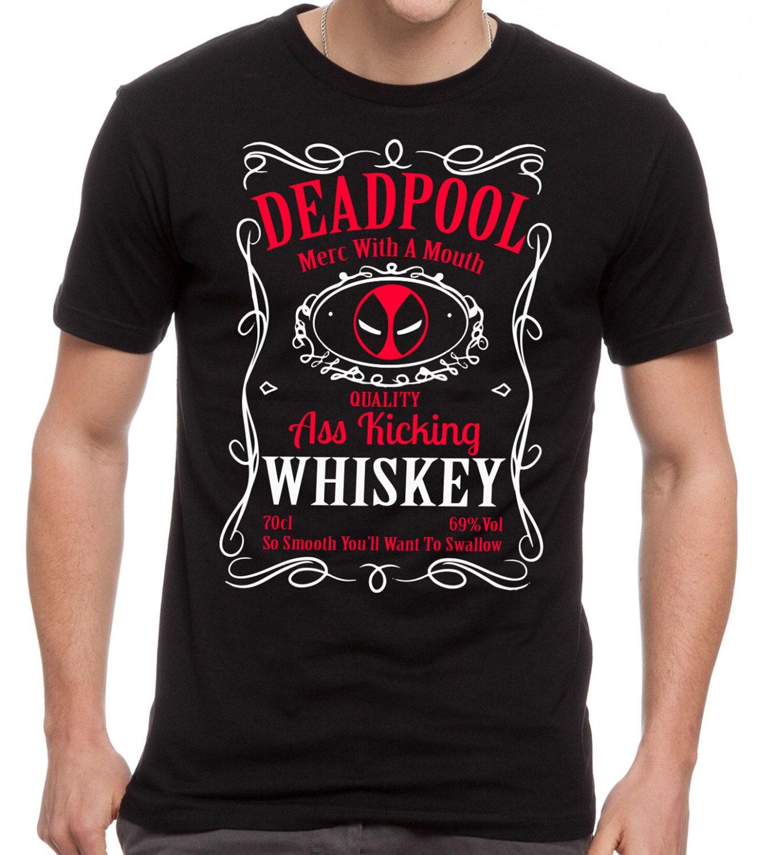 deadpool whisky t shirt antihero drinking mash up black tee. Black Bedroom Furniture Sets. Home Design Ideas