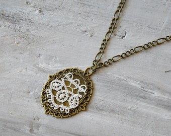 2nd anniversary, cotton anniversary gift for her, Ivory lace necklace girlfriend gift lace pendant