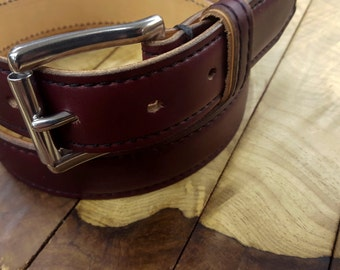 Dover Belt by 9 Gents, Burgundy Leather Belt, Horween Leather, Chromexcel Leather, Men's Leather Dress Belt, Handcrafted Belt, Made in USA