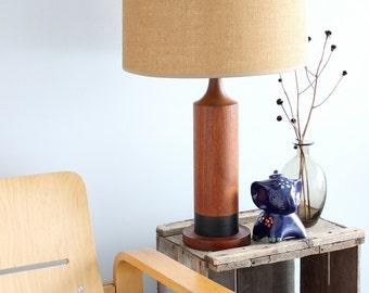 SALE! Minimalist Modern Teak Pillar Lamp Turned Wood Vintage Martz Marshall Style