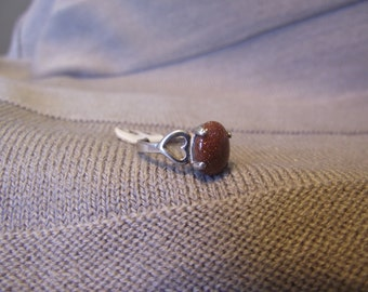 Glittery Amber Stone and Sterling Silver Siz 6