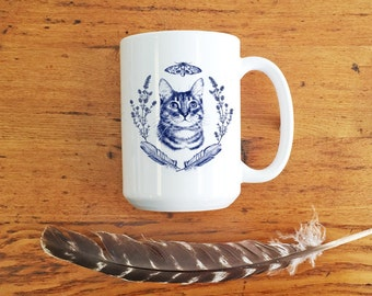 Cat Lover Gift, Delft Blue cat mug,cat on mug,cat mug, cat lover gift, funny cat mug,