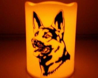German Shepherd Flameless Candle