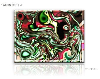 Colorful Abstract Painting, Green Modern Unique Art, Wall Large, 'Green eye' by Klaus Robebsen