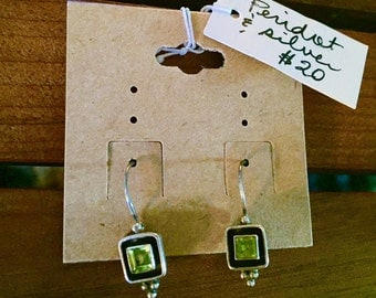 Indian peridot and silver earrings