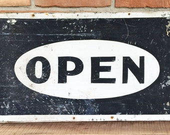 Vintage Open Sign//Collectable Sign
