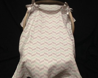 Mint and Gray Car Seat Canopy