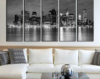 Black White New York Skyline Canvas Art Print, New York Home Decor No:261