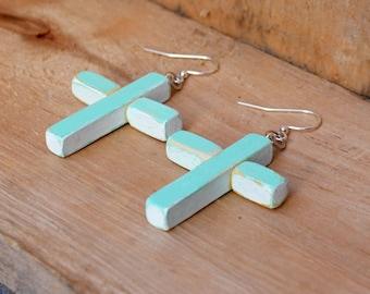 Wood Cross Earrings, Easter Earrings, Aqua Cross, Distressed Cross, Wood cross, Cross Earrings, Rustic Cross, Handmade earrings, Spring