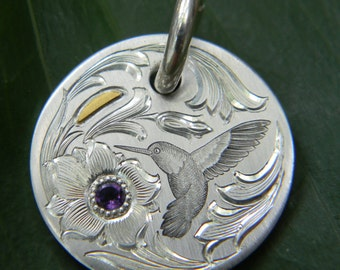 Hand Engraved Hummingbird Sterling Silver Pendant with 24 Karat Gold and Amethyst