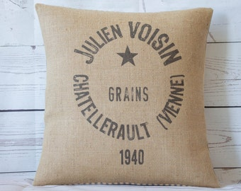 "Vintage style hessian 16"" pillow/cushion cover shabby country chic ~ feedsack design (b)"