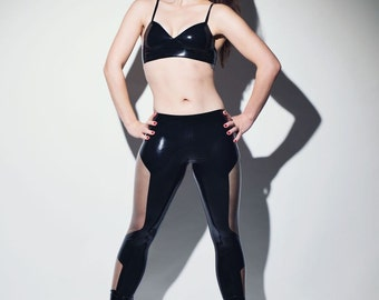 Zippered Futuriste Latex Leggings - Chronomatic Luxury Latex Wear