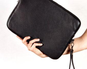 "Black Clutch, Leather Bag, Black Purse, Black Bag, 13"" MacBook Pro Case, Leather Case, Laptop Case, Laptop Sleeve, Ultrabook Cover"