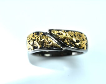 2424-Men's Gold Nugget Band-Promotion 10% Off