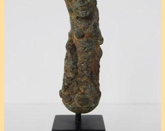 ANCIENT KRIS HANDLE - Very Old Bronze 'Kris' Sword Handle. Artifact of Historical Warfare. From Bali, Indonesia. Tribal Art
