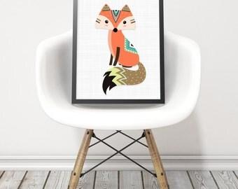 Tribal fox print - Cute nursery tribe animals - Tribe animals print - Printable kids gift - Kids room decor - Nursery animal prints